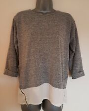 Size 10 Top Grey White Sheer 2-in-1 Zip Hem Casual Women's Ladies VGC