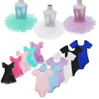 Girls Kid Gymnastics Leotard Dress Toddler Ballet Dance Tutu Dancewear Costume