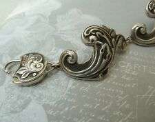Victorian Style Sterling Repousse Bracelet Custom AK Clasp, Konder #353
