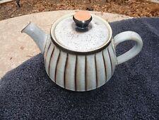 Denby Studio Brown Trim Brown Vertical Lines / Stripes Gray Lidded Teapot
