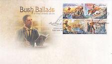 """2014 Bush Ballads AB """"""""Banjo"""""""" Paterson (Gummed Stamps) FDC - Yass NSW 2582 PMK"""