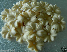 IVORY  WEDDING pearlized blossoms cake cupcake sugar edible flower topper
