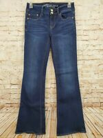 American Eagle Women's Super Super Stretch Artist Flare Blue Jeans Size 4 Short