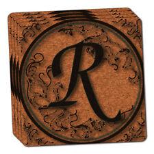 Vintage Letter R Initial Black Tan Thin Cork Coaster Set of 4
