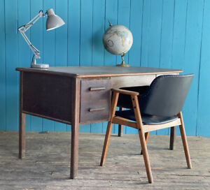 Abbess RETRO MID CENTURY Oak Desk Home Office Drawers DELIVERY*🚚