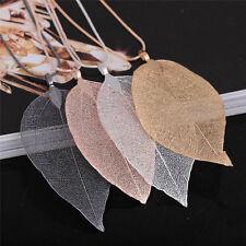 Unique Women Fashion Jewelry Simple Leaf Sweater Pendant Long Chain Necklace WE