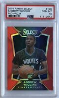 2014 Andrew Wiggins Panini Select #100 RED PRIZM /149 Rookie RC PSA 10 POP 9! 📈