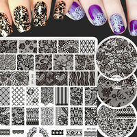 5Pcs/Set Born Pretty Nail Art Stamping Plates Lace Image Stamp Template