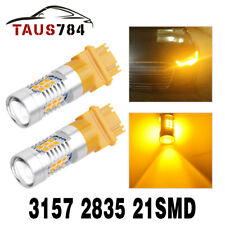 2X 3157 3156 21-SMD 2835 Yellow/Amber Turn Signal LED Light Bulbs Parking Light