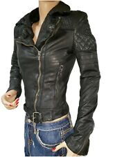 MUUBAA Womens Size 2 100% Goat Leather Biker Jacket Black Motorcycle Zipper