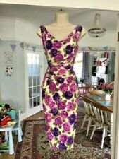 Size 10 PHASE EIGHT Ivory Pink Purple Floral Rose Pencil Wiggle Stretch Dress ~
