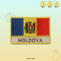 Moldova National Flag With Name Embroidered Iron On Sew On Patch Badge