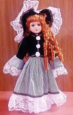 "15"" Porcelain Doll-Irish Lass, Long Red Hair in Ringlets, Black & White Outfit"