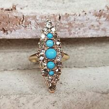 Antique Victorian Diamond and Turquoise Navette Ring Old Mine Cut in Rose Gold