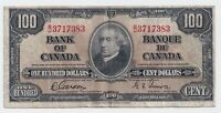 1937 $100 Bank of Canada Note Gordon Towers B/J 3717383