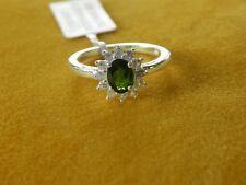 RUSSIAN DIOPSIDE & NATURAL CAMBODIAN WHITE ZIRCON RING - SIZE P - 1.250 CTS