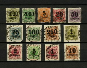 (YYAO 814) Wurttemberg 1923 USED OFFICIAL DIEN Mich 171 - 183 Germany