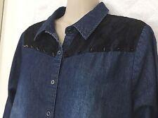 Pretty Rebellious Junior size Large Denim Western style shirt Studs lace R