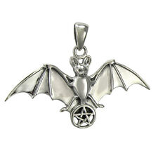 Sterling Silver Bat with Pentacle Pendant - Gothic Wiccan Vampire Totem Jewelry
