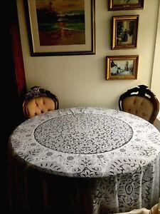 Large 7ft Vintage Antique 100% Terylene Round Tablecloth
