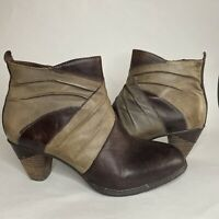 L'Artiste by Spring Step Women Jazlyn Zip Ankle Boot Brown Leather 39 / US 8.5 M