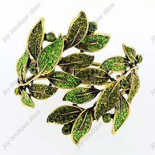 Green crystal rhinestone leaf gold bracelet bangle fashion jewelry charm vintage