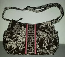 NEW VERA BRADLEY SHOULDER TOTE BAG PURSE BROWN WHITE IMPERIAL QUILTED PRINT