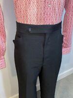 Vtg 60s 70s Haggar Polyester Pants Mens 38 30 Disco Leisure Suit Groovy Black