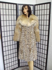 ! MINT NATURAL MONTANA LYNX & COYOTE FUR COAT WOMEN WOMAN SZ 2-4 PETITE