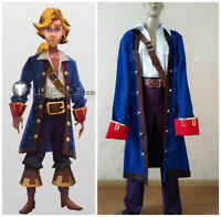 NEW! Monkey Island Guybrush Ulysses Pirate Blue Cosplay Costume! Custom Made