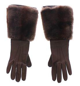 DOLCE & GABBANA Brown Rabbit Fur Lambskin Leather Gloves Silk s. 7 / S RRP $980