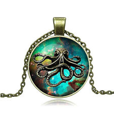 Vintage Cartoon octopus Cabochon Photo Bronze Glass Chain Pendant Necklace YG308