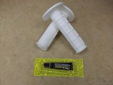NEW WHITE 1/3 WAFFLE MX GRIPS + SCOTT GRIP STICK GRIP GLUE TACKY SOFT COMPOUND