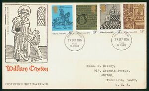 Mayfairstamps Great Britain FDC 1976 William Caxton Combo First Day Cover wwp_63