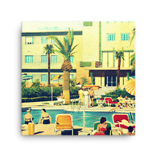 Mid Century Art on Canvas, Las Vegas Flamingo Hotel Pool, like Poolside Gossip