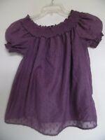 H & M Ladies Purple  Peasant Top Shirt Blouse Sz 2
