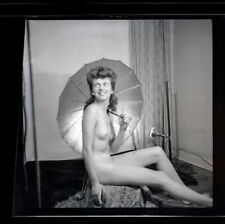 1940's Vintage Nude Negative~Firm Perky Breasts Perfect Body Pinup w/Parasol