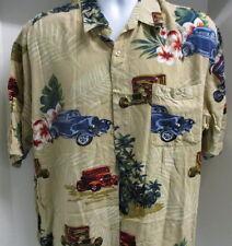 Puritan Hawaiian Style Shirt, Old Cars & Flowers, XL, S/S, Great Colors!