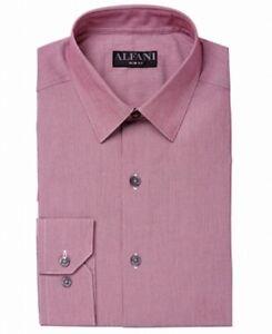 Alfani Mens Dress Shirt Burgundy Red Size 16 1/2 Slim Fit Button-Down $50 #077