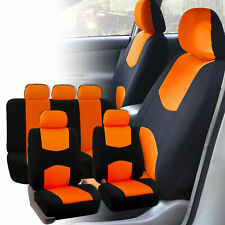 Car Seat Covers Orange Black Set for Auto SUV Trucdk w/5 Headrests
