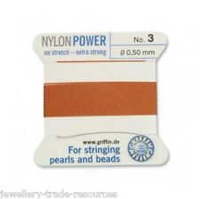 Cornalina Nylon Potencia sedoso Hilo 0,5 mm Encordar Perlas Griffin 3