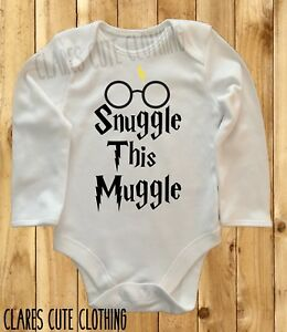 HARRY POTTER SNUGGLE THIS MUGGLE WITH GLASSES BABY VEST/ GROW  BODYSUIT ROMPER