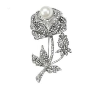 Silver Crystal Large Rose Flower Corsage BROOCH Pin Diamante Mothers Day Gift