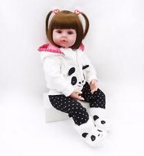 24'' Handmade Reborn Silicone Baby Vinyl Panda Girl Realistic Toddler Doll Toy #