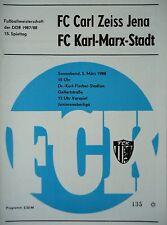 1987/88 programme FC Karl Marx Stadt-CZ Jena