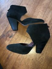Black Suede Pumps With Ankle Wrap 8.5B