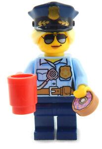 NEW LEGO FEMALE COP & DONUT city town police minifigure coffee doughnut minifig
