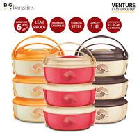 Venture Round Casserole Microwave Set with Lids Kitchen Food Serving 1.4L 3pcs