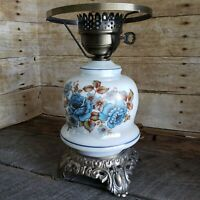 Vintage Electric Hurricane Lamp Bottom Blue Floral Accurate Casting Co