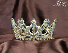 Small Tiaras Crystal Brides Mini Crowns Rhinestone Party Prom Hairwear Gold